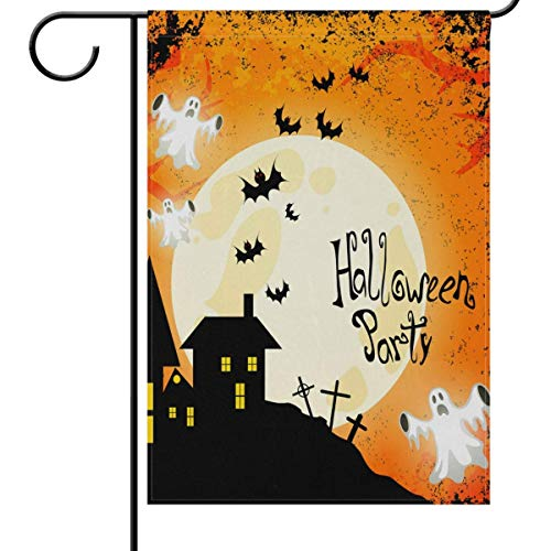 fdgjfghjdfj Halloween Garden Flag 12 x 18 Double Sided, Spooky Goast Haunted House Full Moon Bats Funny Welcome Autumn Fall Winter Holiday Outdoor Yard House Flags Banner for Party Home Decor Winter Full House