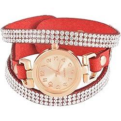 SSITG Women Rose Gold Quartz Analogue wristwatch watch Wrap Bracelet 21cm