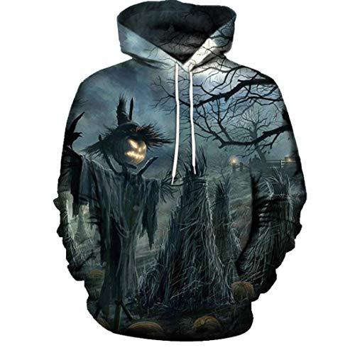 Unisex Kapuzenpullover, Halloween Paare Hoodie Mode 3D Drucken Sweatshirt Pullover Top für Damen Herren(L,Grau)