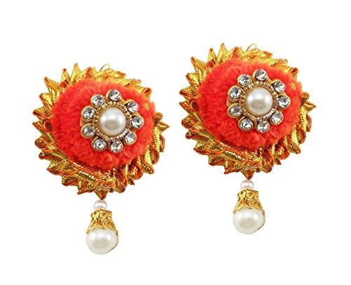 BLENT Traditional Orange Gota Jewellery Earrings (1 Pair) for Women/Girls