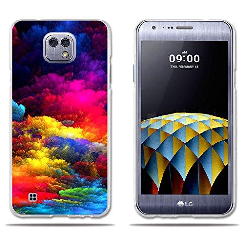 LG X Cam K580 Hülle, FUBAODA [Bunte Wolken] Transparente Silizium TPU Slim Fit Shockproof Flexible Anti-Scratch Smart Schutz Minimalistische 3D zeitgenössischen Chic Design Protector für LG X Cam K580