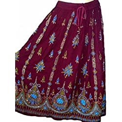 Señoras imponentes Indian Boho Hippie Gypsy Sequin Summer Sundress Falda M L (MAROON BLUE)