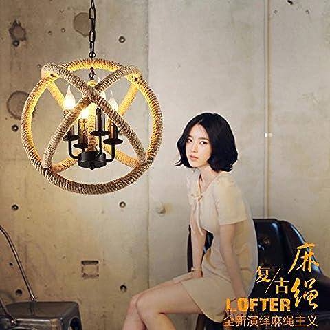 Lámpara Colgante moderno Luces de retro loft ropa de verano cafe candelabros de sisal pueblo Americano arañas