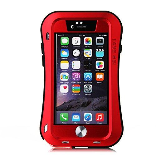 Original Schutzhülle aus Kurve Schutzhülle aus Aluminium Metall Schutzhülle Autoschondecke Wasserdicht Stoßfest Staubdicht Nachhaltige für 4,7Zoll iPhone 6Smartphone rot