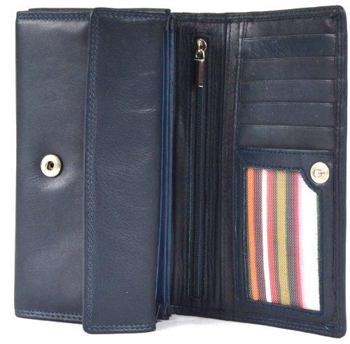 London Leather - Portafoglio in pelle nappa, con chiusura ampia a cartella, tasche interne, colore: Lilla / Marrone scuro / Marrone medio / Navy / Turchese / Nero Blu (Blu)