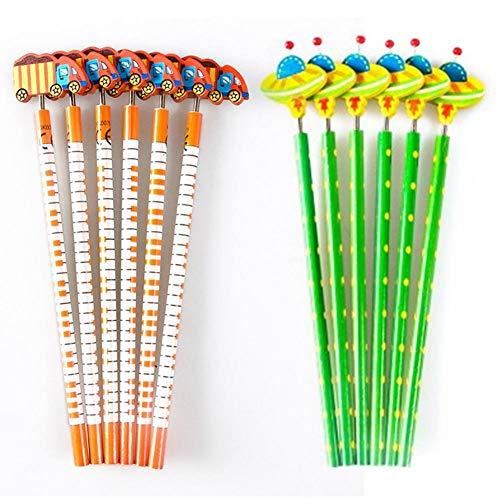 Stylus 6 Juegos de Dibujos Animados de Madera, Primavera, sacudiendo la Cabeza lápiz, lápiz Creativo de Madera (Verde y Naranja)