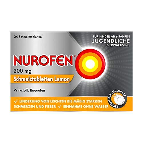 Nurofen 200mg Schmelztabletten Lemon - Ibuprofen Schmelztablette mit Lemon Geschmack bei Schmerzen und Fieber - Zergeht auf der Zunge - 1 Packung mit je 12 Stück