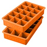 Tovolo Silicone Eiswürfelschale mit rotem Maker Set bestehend aus 2 New orange