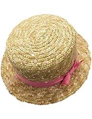 Cosanter Plat Surmonté Dame Chapeau Mignon Petit Filet Bow Chapeau Paille été Chapeau Soleil Dame