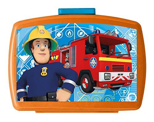 p:os 26361099 - Brotdose Premium, mit Einsatz, Feuerwehrmann Sam, ca. 16 x 12 x 6,5 cm
