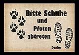 crealuxe Kleine Stufenfussmatte Bitte Schuhe und Pfoten abtreten - Kleine Fussmatte Bedruckt Türmatte Innenmatte Schmutzmatte lustige Motivfussmatte, Stufenmatte