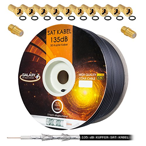 135dB 100m Koaxial SAT Kabel Reines KU Kupfer PRO 5-fach geschirmt Schwarz Black Koax Antennenkabel für DVB-S/S2 DVB-C und DVB-T BK Anlagen + 10x vergoldete F-Stecker UND 2x F-Verbinder Gratis dazu (Rg6 Kabel Black)