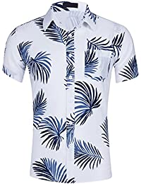 Pinkpum Mens Shirt Hawaii Style Short-Sleeved 100% Cotton Printed Shirt Casual Wear T-Shirt 12 Color S-XXL
