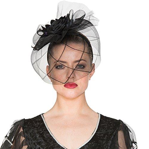 EUROCARNAVALES Sombrero Schleierhut Witwe mit Schleier schwarz Kostüm Zubehör Gothic Halloween Hexe 20er Jahre Charleston Karneval (Verkleidung Schwarze Witwe Kostüm)