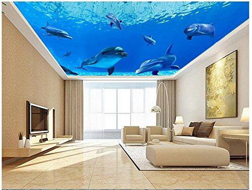 Chlwx 3d tapete 3D Wallpaper Custom 3D-Decke Tapeten Wandmalereien Im Mediterranen Wandgemälden Blue Fantasy Unterwasser Welt, Delphin Decken 300Cmx200Cm -