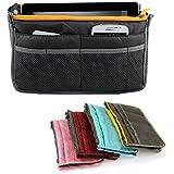 Yihya Femmes Voyage Bag Organisateur Sac avec Double fermeture éclair Insérez Doublure Tidy Poches Multiples Pouch Meilleur design Cosmétique Purse Handbag --- Gris