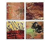 Exklusive Bilder auf Leinwand bespannt (4 Stück 60x60cm) - Abstrakt Lebhaft Kunst Brauntöne Expressiv