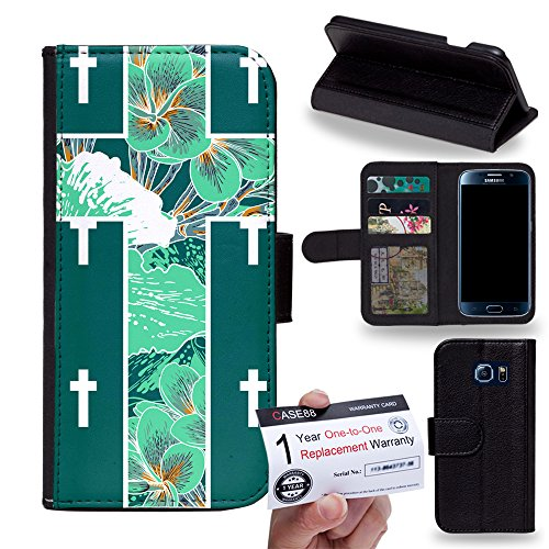 Case88 [Samsung Galaxy S6] Custodia in PU Pelle, Supporto Stand e Porta Carte Integrati Portafoglio Flip Cover - Art Green Floral Cross Symbols 1216