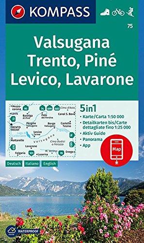 Valsugana, Trento, Piné, Levico, Lavarone: 5in1 Wanderkarte 1:50000 mit Panorama, Aktiv Guide und Detailkarten inklusive Karte zur offline Verwendung in der KOMPASS-App. Fahrradfahren. Skitouren.