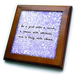 3dRose ft_173276_1 be a Girl with a Mind, a Woman with Attitude and a Lady with Class-Framed Tile Artwork, 8 by 8-Inch