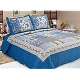 """ADP Home - Colcha Bouti Estampada """"CADIZ"""" reversible y cosida con funda de almohada – para cama de 150 Color Diseño único Talla 250X270 CM"""