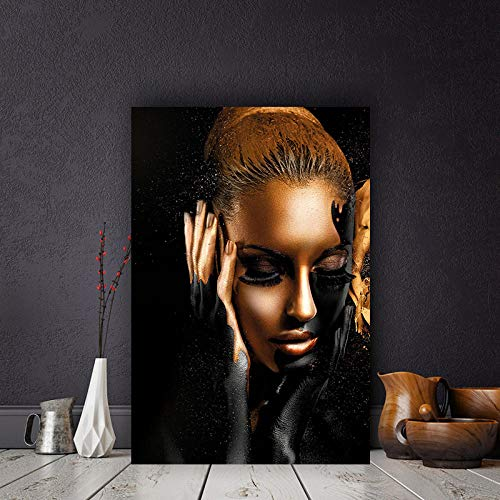 Schwarzgold Nackte Afrikanische Kunst Frau Malerei Auf Poster Und Drucke Skandinavischen Wandbild Für Wohnzimmer 50Cmx70Cm -