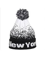 Malloom Hombres mujeres holgados cálido invierno lana esquí cráneo Slouchy New York gorros gorro de punto (Negro)
