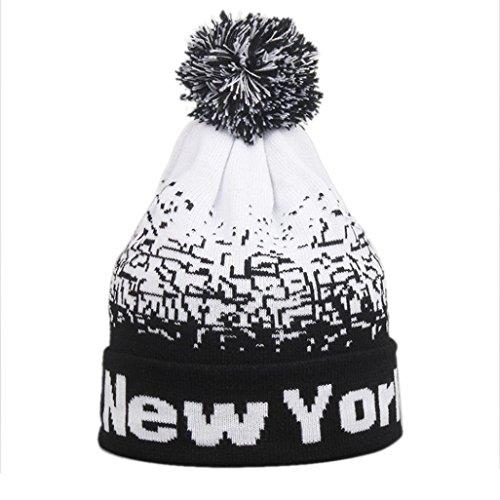 Imagen de malloom hombres mujeres holgados cálido invierno lana esquí cráneo slouchy new york gorros gorro de punto negro