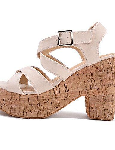 UWSZZ IL Sandali eleganti comfort Scarpe Donna-Sandali-Formale-Tacchi / Plateau / Aperta-Quadrato-Finta pelle-Nero / Beige almond