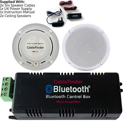 Kabelloser Bluetooth-Verstärker & 2x 80W Deckenlautsprecher, Set Mobile Wireless Amp