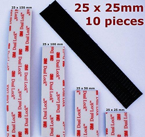 Ruban adhésif VHB 3M Dual Lock, noir, très résistant, auto-collant, 25 mm de large, pour usage intérieur et extérieur, Feutre, noir, 25mm x 25mm - 10 pieces