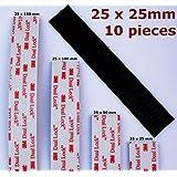 10 piezas x negro 3 m doble cerradura cinta PADS --- 25 mm ancho x 25 mm largo --- Autoadhesivo planningfamily VHB sujetador --- Resistente y resistente a la intemperie --- Tipo SJ3550