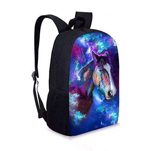 chaqlin Fashion Galaxy Animal Rucksack Schule Taschen für Jungen Mädchen Buch Tasche Tagesrucksack Blau pferd (Vivid Kleidung Blau)