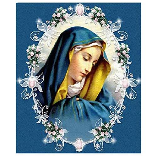 Diamante Pintura 5D Taladro Completo Mosaico Virgen María Religión Patrón Diy Kit De Mosaico De Punto De Cruz 3D Decoración Para El Hogar Regalos,80X100cm