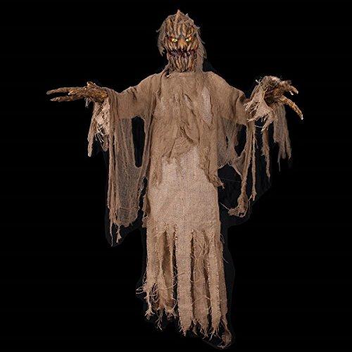 Decorations - Vogelscheuche 90cm Animierte Puppe Dekoration Deko Figur Halloween-Accessoire Zubehör Halloweenkostüm Karneval Fasching Verkleidung (Halloween Animierte Figuren)