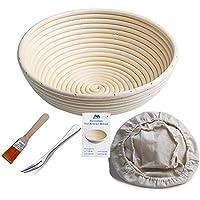 """Bakery Essentials cesta de pruebas 10 """"redondo Banneton Brotform cuenco de ratán para masa de pan y cepillo [libre] Borradores de aumento(hasta 1000g) + free liner + libre Pan horquilla"""