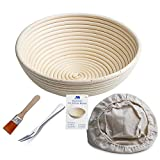 "Banneton Proofing Basket 10"" Round Banneton Brotform for Bread and Dough [FREE BRUSH] Proofing Rising Rattan Bowl(1000g Dough) + FREE LINER + FREE BREAD FORK"