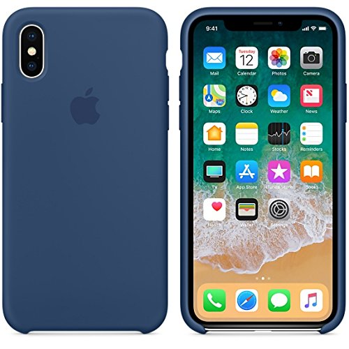 Apple Original Silicon Back Cover for iPhone X (Blue)
