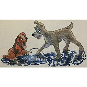 M C G Textiles 4.75 x 9-inch Disney Dreams Collection Lady and the Tramp Counted Cross Stitch Kit
