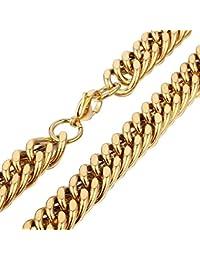 Trendsmax Hombres de 14 mm de Ninos de cadena del oro del tono Rombo acero inoxidable collar de la cadena de cierre de pinza de langosta