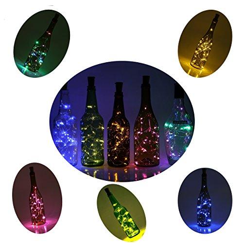 6 Stück 2M LED Flaschen Licht Mehrfarben Flaschenlicht Weinflaschen Lichter 20er LED Kork Flasche Lichterkette für DIY Party, Dekor, Weihnachten, Halloween, Hochzeit oder Stimmung Lichter