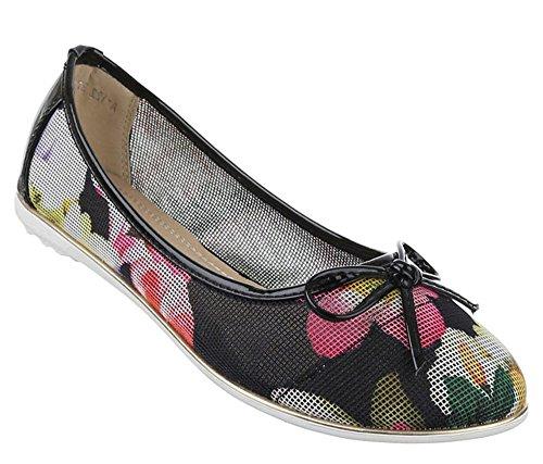 Damen-Schuhe Ballerinas | elegante Slipper mit Schleife in verschiedenen Farben und Größen | Schuhcity24 | perforierte Pumps mit Blumen-Muster Schwarz