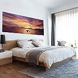 BAIYUDE 3D Sonnenuntergang Landschaft Bett Kopfteil Tapete Ozean Strand Möwen Poster Abnehmbare Seascape Wandaufkleber Für Kinderzimmer Wohnkultur 90X180 cm