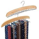 EZOWare Krawattenhalter 2er-Set, Gürtel Schals Zubehöre Aufbewahrung für Kleiderschrank - drehbar beweglich (24 Haken aus Holz 2er-Set)