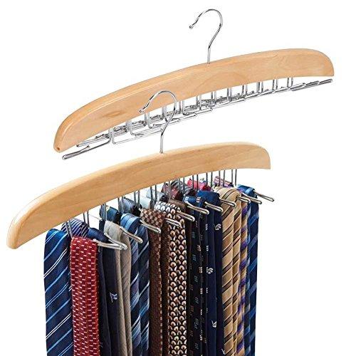 EZOWare Krawattenhalter, Gürtel Schals Zubehöre Aufbewahrung für Kleiderschrank - drehbar beweglich ( 24 Haken aus Holz 2 Stücke )