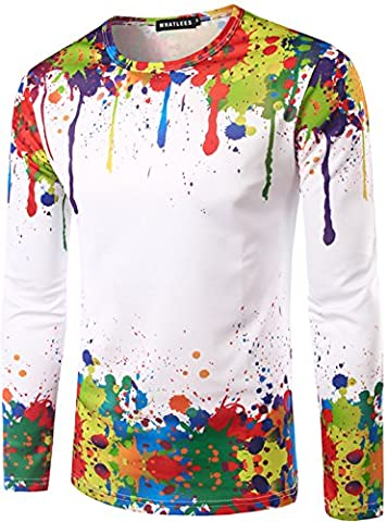 Whatlees Mens Hip Hop Slim Fit long sleeve Sweatshirts with