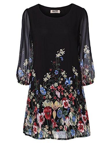 DJT Women's Floral Print 3/4 Sleeve Loose Fit Chiffon A-Line Mini Dress
