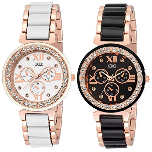 Codice Black and White Dial Rose Gold Girls watches & Women Watches Combo 2