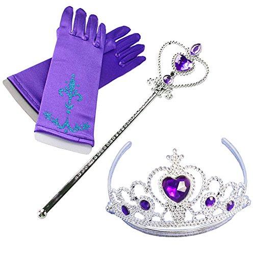 Fanryn Eiskönigin Kostüm Set Handschuhe,Zauberstab,Krone Diadem für kleine Prinzessinnen Anna für Party-Fieber Kleid / Mädchen-Kostüm Karneval Verkleidung Party (Kostüme 4 Yakuza)