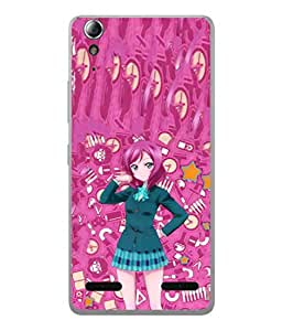 PrintVisa Designer Back Case Cover for Lenovo A6000 :: Lenovo A6000 Plus :: Lenovo A6000+ (Girl In Uniform In Pink Background)